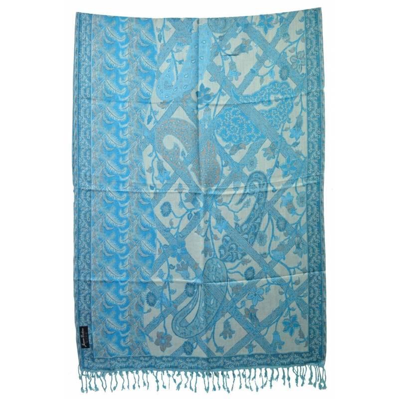 Pashmina Jamawar viscose - bleu clair