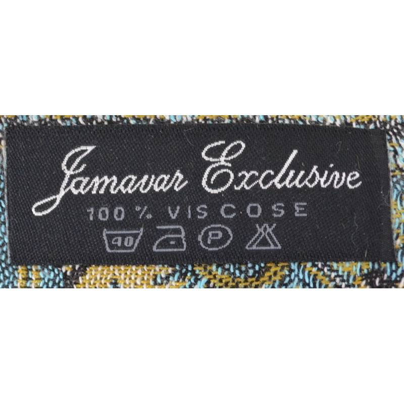 Pashmina Jamawar viscose - bleu, gris, rouge