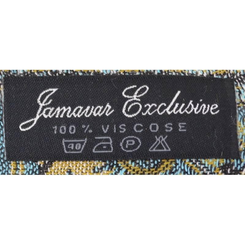 Pashmina Jamawar viscose - bleu, jaune, vert