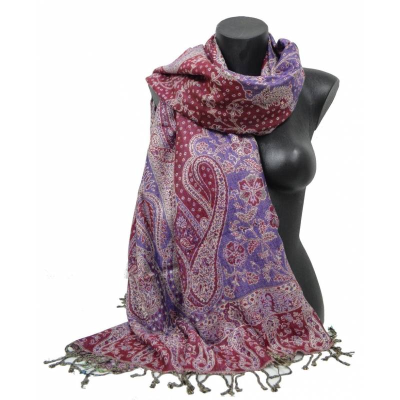Pashmina Jamawar viscose - bordeaux, violet