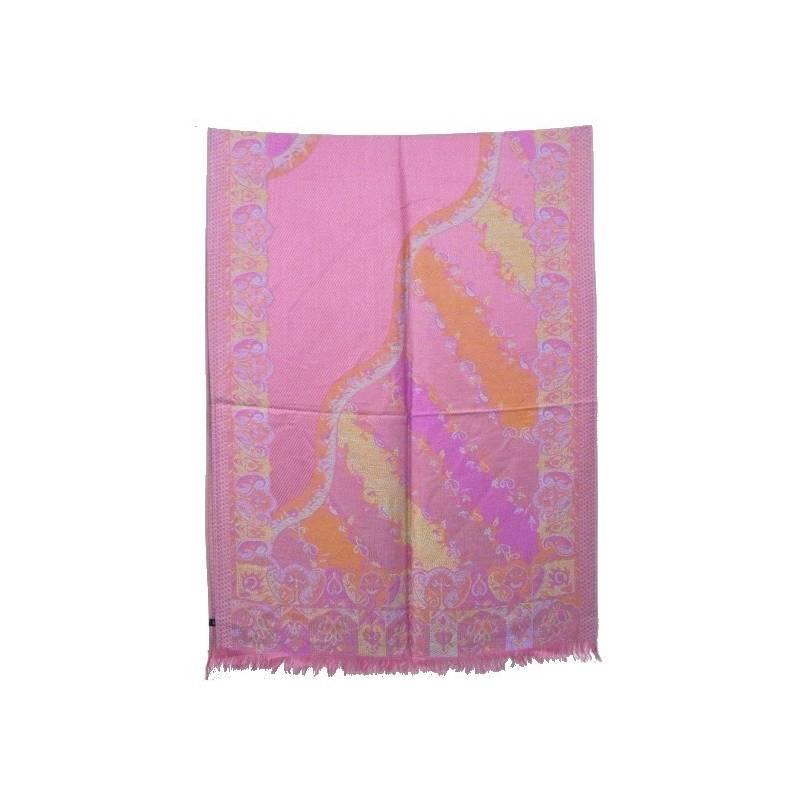 Pashmina - coton et viscose - rose et jaune