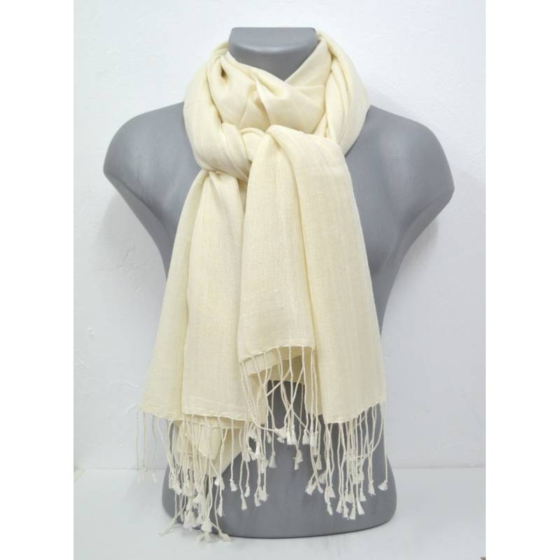Etole en cachemire et soie NZO SBARBERI beige clair