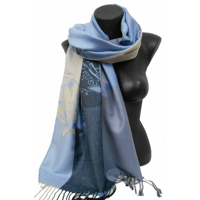 Pashmina acryl. -  bleu