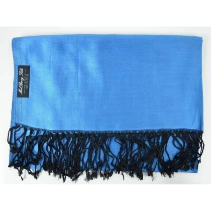 Etole en soie indienne bleu et noir