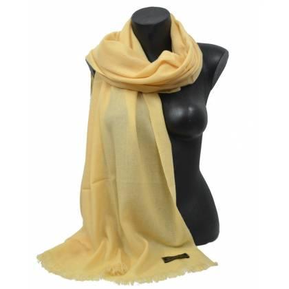 Etole en cachemire jaune beige de qualité SUP.