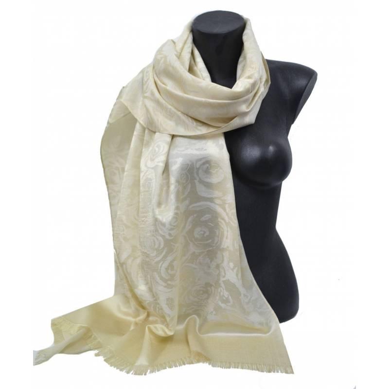 Pashmina viscose - beige clair avec roses