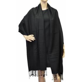 Grande étole 90 cm en cachemire et soie NZO SBARBERI noire