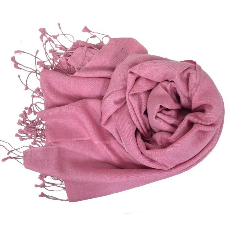 Grande étole 90 cm en cachemire et soie NZO SBARBERI rose