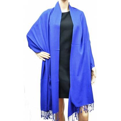 Grande étole 90 cm en cachemire et soie NZO SBARBERI bleue