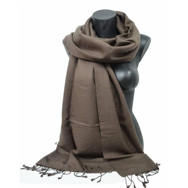 Grande étole 90 cm en cachemire et soie NZO SBARBERI marron