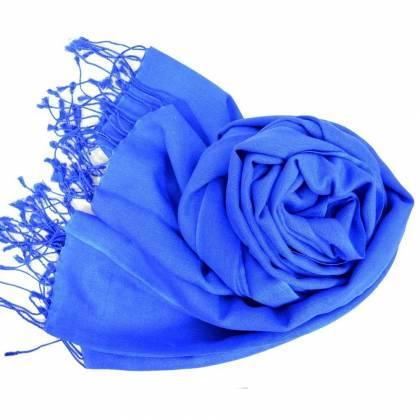 Grande étole 90 cm en cachemire et soie NZO SBARBERI bleu roi