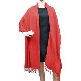 Grande étole 90 cm en cachemire et soie NZO SBARBERI rouge