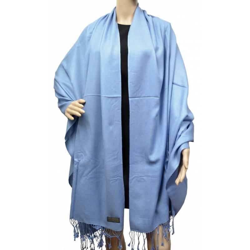 Grande étole 90 cm en cachemire et soie NZO SBARBERI bleu ciel