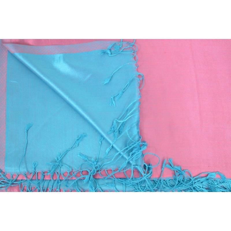Etole en soie indienne rose et turquoise