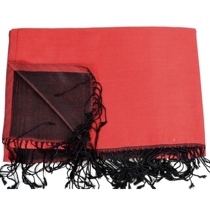 Etole en soie indienne rouge