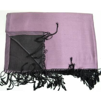 Etole en soie indienne violette et noire