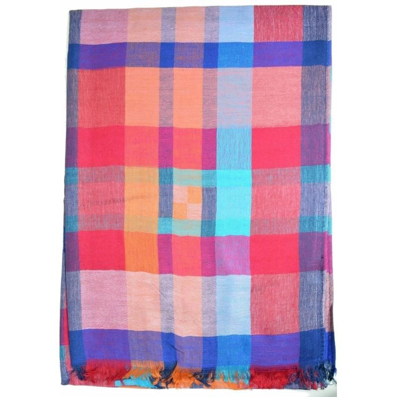 Pashmina madras  - rouge, bleu