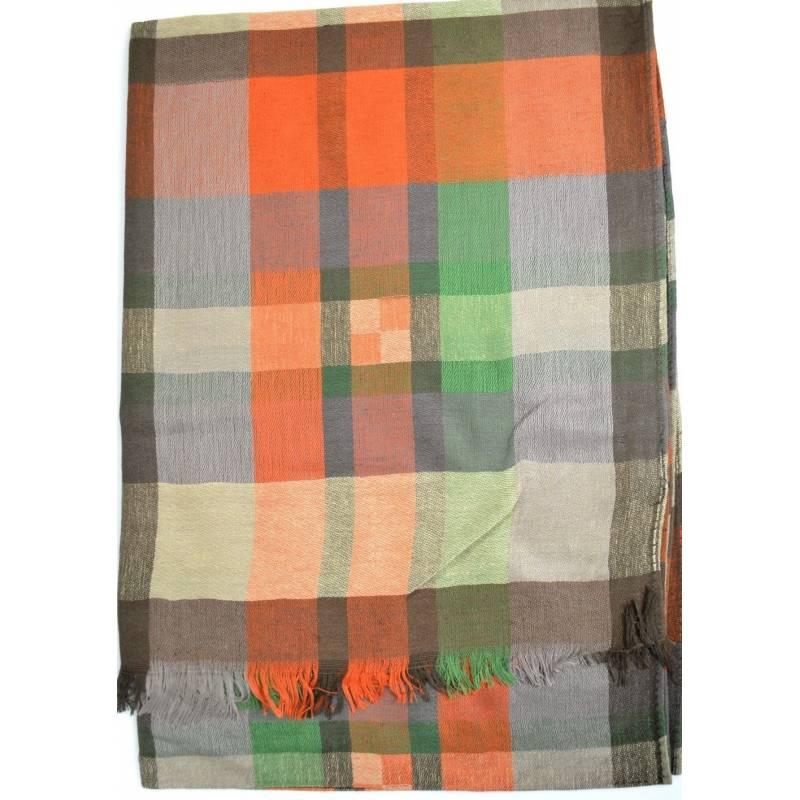 Pashmina madras  - vert, orange
