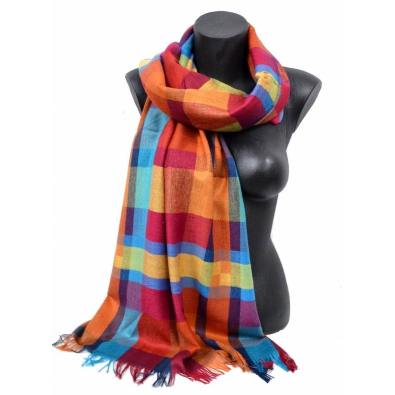 Pashmina madras  - orange, bleu