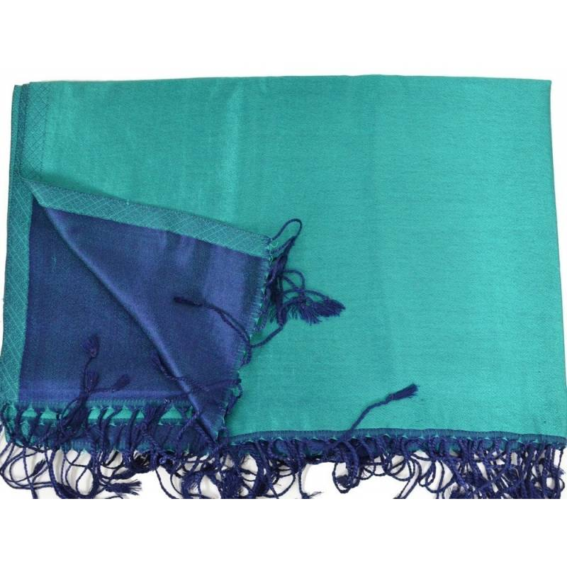 Etole en soie indienne verte et noire