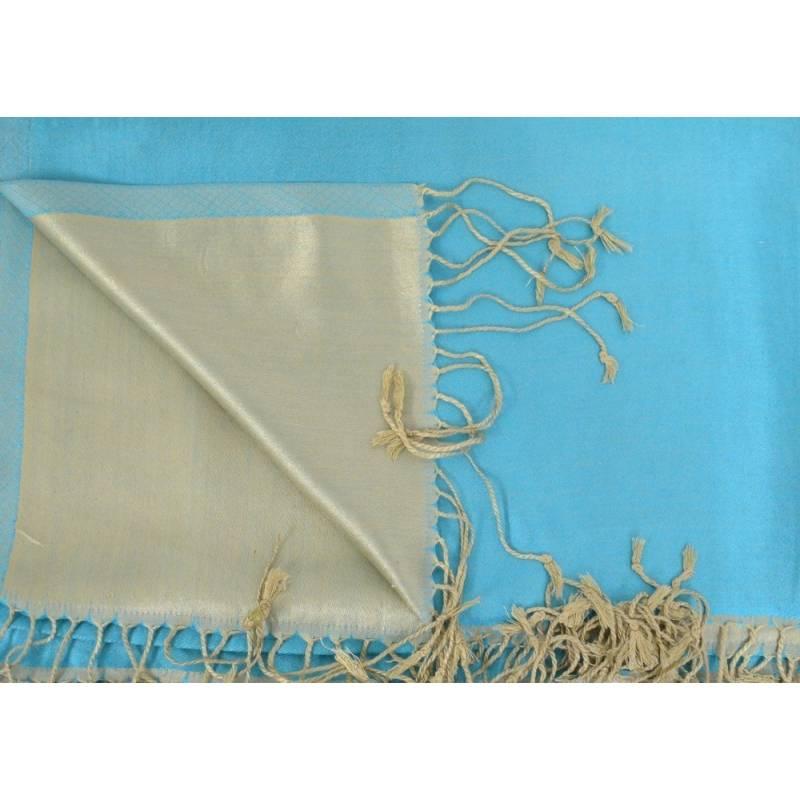 Etole en soie indienne turquoise et beige