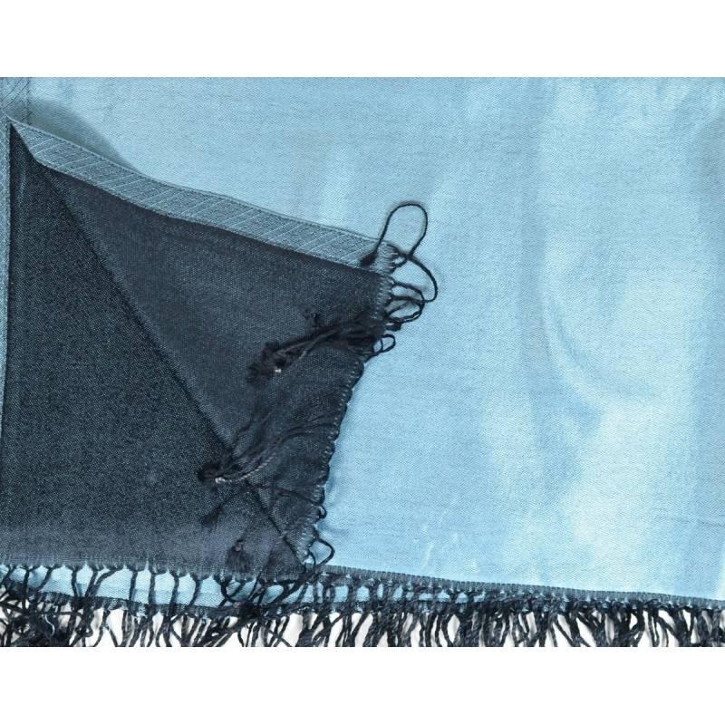 Etole en soie indienne bleu-clair et noir