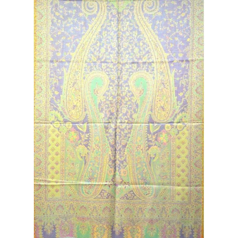 Pashmina Jamawar viscose - bleu et vert