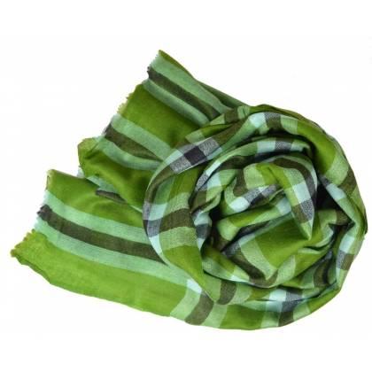 Pashmina cachemire mixte tartan vert
