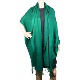 Grande étole 90 cm en cachemire et soie NZO SBARBERI verte