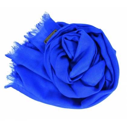 Vrai pashmina en cachemire bleu roi
