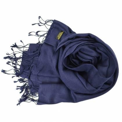 Grande étole 90 cm en cachemire et soie NZO SBARBERI bleu nuit