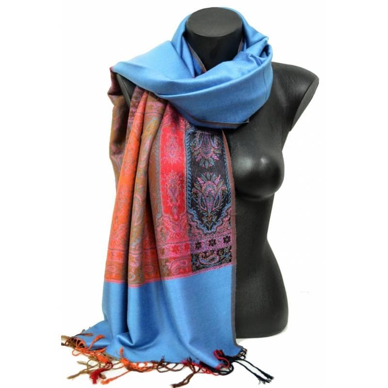 Pashmina indien bleue