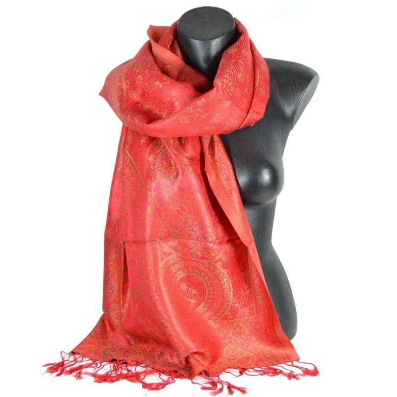 Etole en soie jacquard rouge-rose