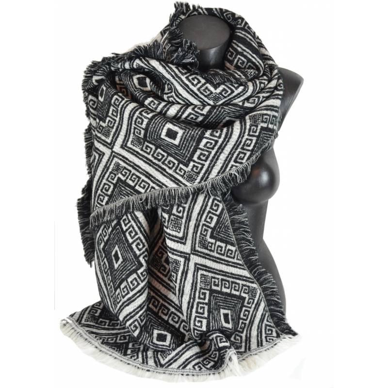 Pashmina epais azteque noir et blanc