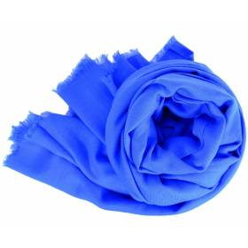 Grand pashmina en laine bleu roi