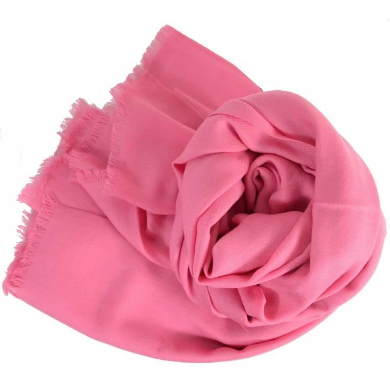 Grand pashmina en laine rose