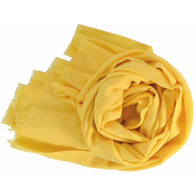 Grand pashmina en laine jaune