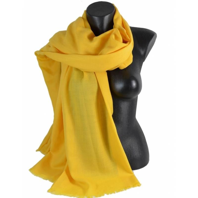 415be4b74e1 Grand pashmina en laine jaune