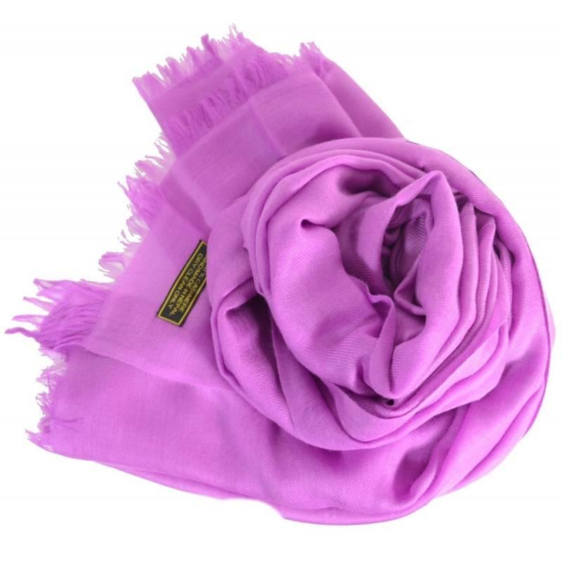 Vrai pashmina en cachemire lilas b3ff596a2f1