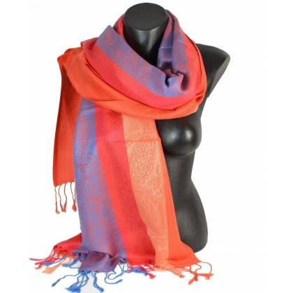 Pashmina mixte - bleu rouge orange