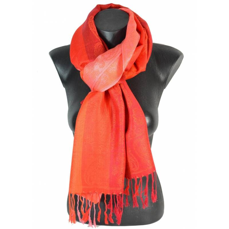 Pashmina - rouge et orange