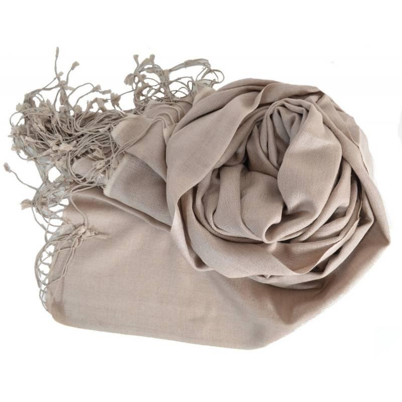 Grande étole 90 cm en cachemire et soie NZO SBARBERI taupe