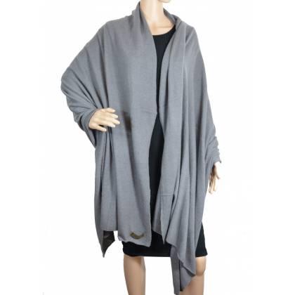 Grand châle en cachemire gris