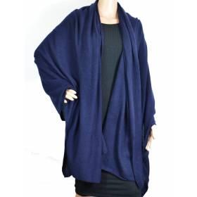 Grand châle en cachemire bleu