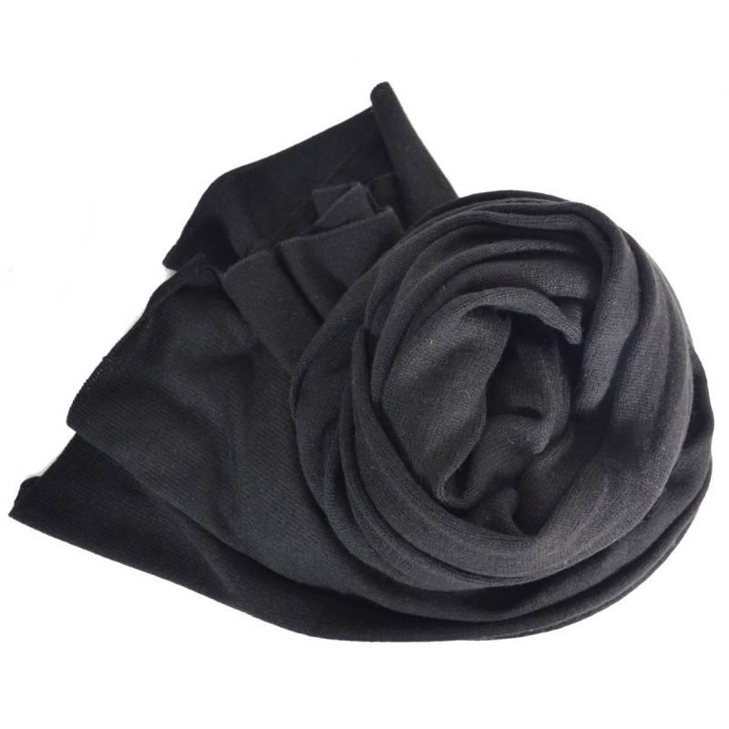 Grand châle en cachemire noir