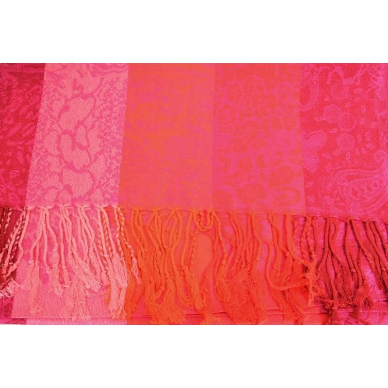 Pashmina laine  - rose, rouge, orange