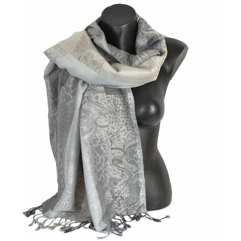 Pashmina laine mixte - gris