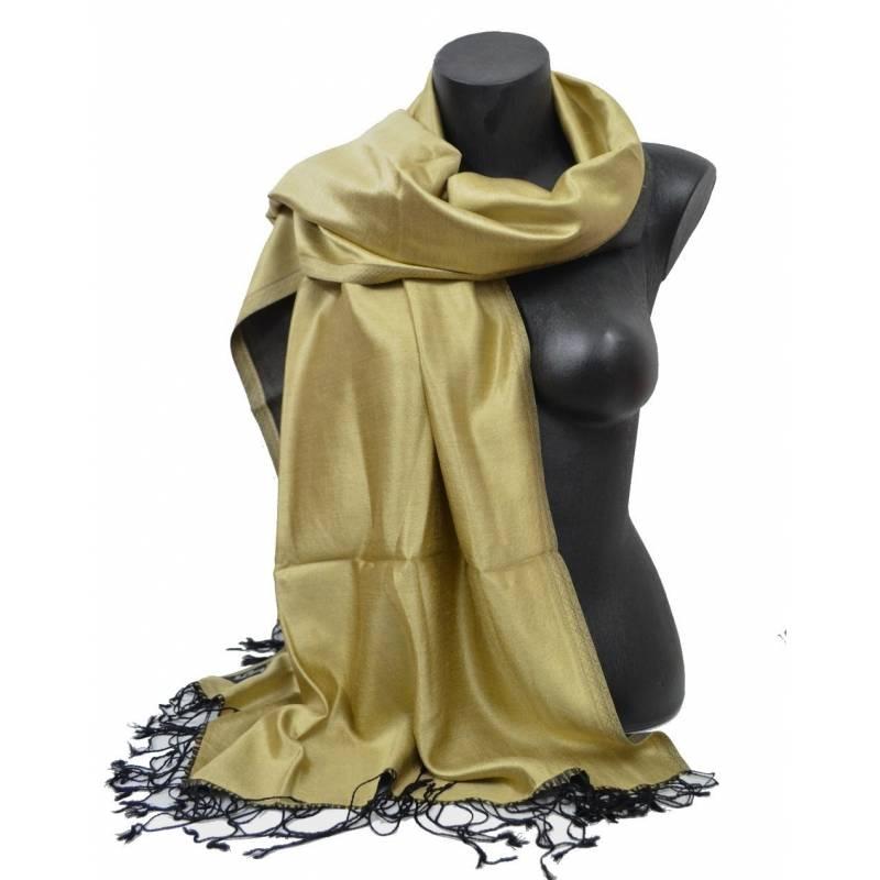 Etole en soie indienne or jaune