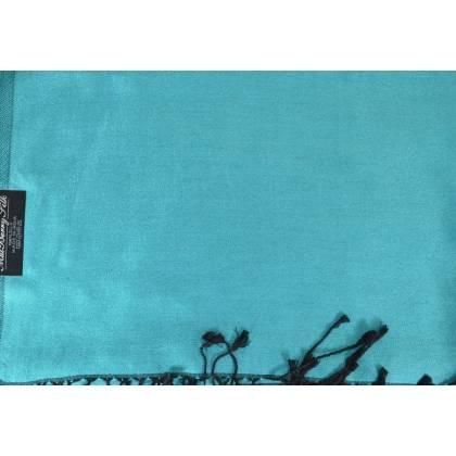 Etole en soie indienne bleu ciel et noire