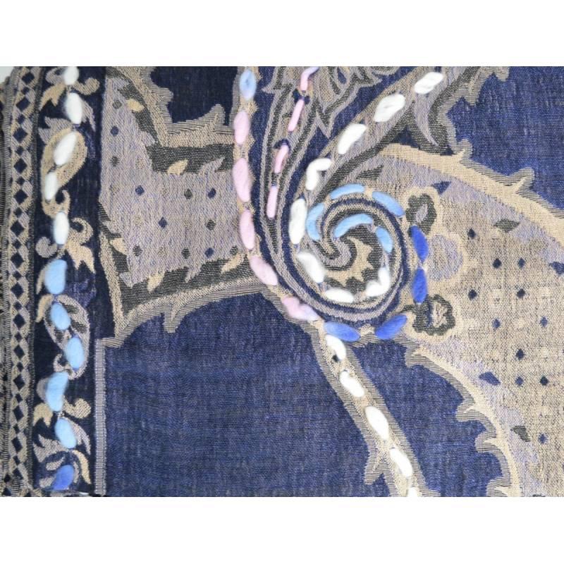 Pashmina brodé bleu